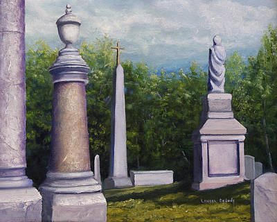 Art Print featuring the painting Oakwood Cemetery Jefferson Texas by Lenora  De Lude