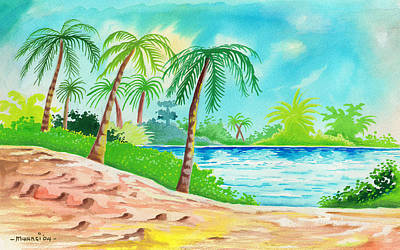 Wells Beach Painting - Oasis by Anthony Mwangi