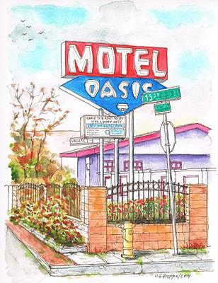 San Carlos Painting - Oasis Motel In Route 66, San Bernardino, California by Carlos G Groppa