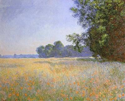 Poppies Field Painting - Oat And Poppy Field by Claude Monet