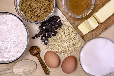 Oatmeal Photograph - Oatmeal Raisin Cookie Ingredients by Teri Virbickis