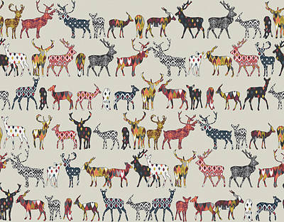 Pattern Drawing - Oatmeal Spice Deer by Sharon Turner