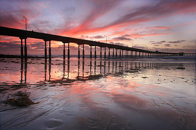 Ob Pier Reflection Sunset Art Print by Scott Cunningham