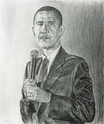 Drawing - Obama 3 by Michael Morgan