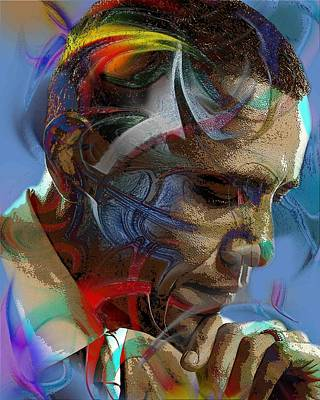 African-american Digital Art - Obama Abstract by Terry Boykin
