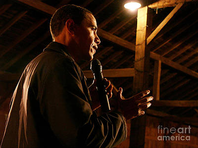 Obama Campaigning In 2007 At The Amanas Art Print by Joan Liffring-Zug Bourret