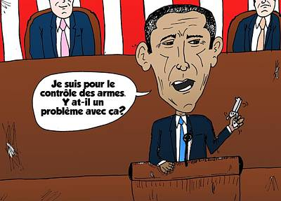 Obama Mixed Media - Obama Caricature Des Armes Et Emplois Gouvernemental by OptionsClick BlogArt
