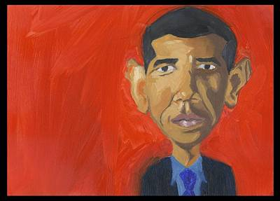 Barack Hussein Obama Painting - Obama Caricature by Isaac Walker