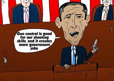 Financial Mixed Media - Obama Caricature On Guns And Gov't Jobs by OptionsClick BlogArt