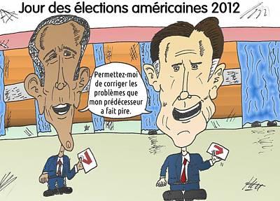 Obama Mixed Media - Obama Et Romney En Dessin Comique Du Jour Des Urnes by OptionsClick BlogArt