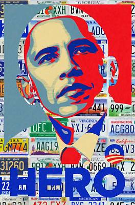 Americans Elect Painting - Obama Hero by Lanjee Chee