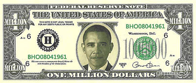 Obama Million Dollar Bill Art Print by Charles Robinson