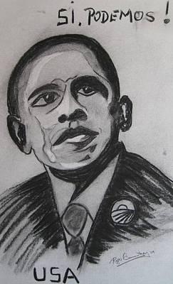 Obama Art Print by Roger Cummiskey