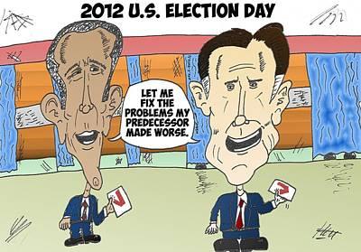 Obama Mixed Media - Obama Romney Election Day Cartoon by OptionsClick BlogArt