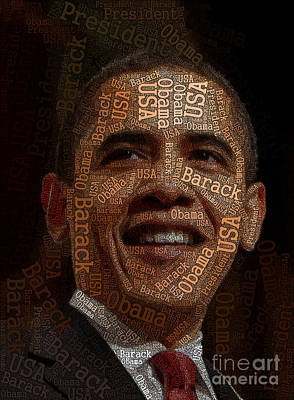 Obama Typography Art Art Print by Boon Mee