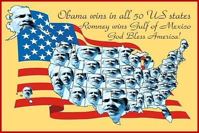 Obama Victory Map Us Election 2012 - Poster Art Art Print by Art America Gallery Peter Potter