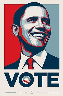 Barack Obama Mixed Media - Obama Vote by Shepard Fairey Obey Giant