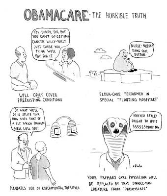 Just Do It Drawing - Obamacare The Horrible Truth by Emily Flake