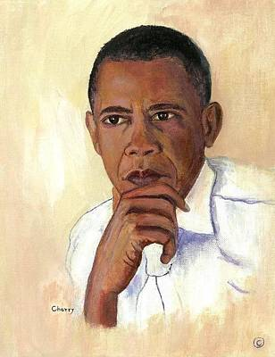 Obama Painting - Obama's Thoughts by Sandra Jones
