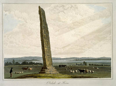 Monolith Drawing - Obelisk At Forres, From A Voyage Around by William Daniell