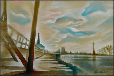Painting - Oberkassel Bridge 2006 by Glenn Bautista