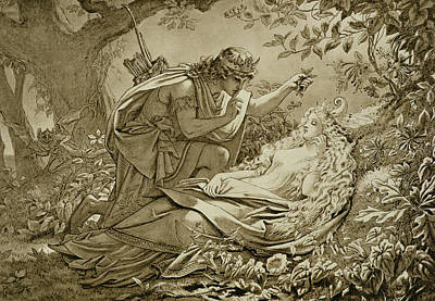 Oberon And Titania Print by English School