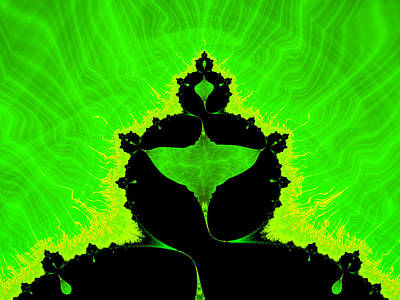 Royalty-Free and Rights-Managed Images - Obey - black mandelbrot fractal and bilious green background by Matthias Hauser