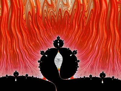 Inferno Digital Art - Obey - Hot Red Fractal Inferno by Matthias Hauser