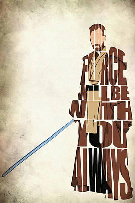 Typographic Digital Art - Obi-wan Kenobi - Ewan Mcgregor by Inspirowl Design