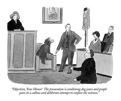 Deliberating Drawing - Objection, Your Honor!  The Prosecution by Danny Shanahan