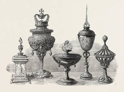 Vintner Drawing - Objects Of Art And Antiquity Exhibited At Ironmongers Hall by English School