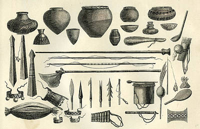 Old Objects Drawing - Objects Of The Chontaquiros Indians 1869 Peru by Peru School