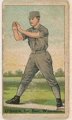Baseball Cards Drawing - Obrien, 1st Base, Washington by Issued by D. Buchner & Co., New York