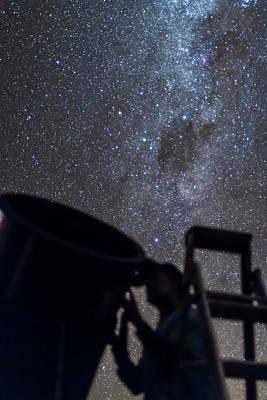 Observer Photograph - Observer & Telescope At Ozsky Star Party by Alan Dyer