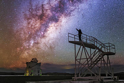 Observer Pointing At The Milky Way Print by Babak Tafreshi