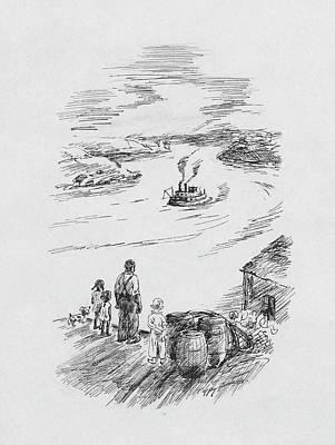 Male Likeness Digital Art - Observing A Steam Boat by Artist Unknown