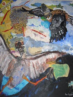 Observer Mixed Media - Observing  Birdies by Rozenia Cunningham