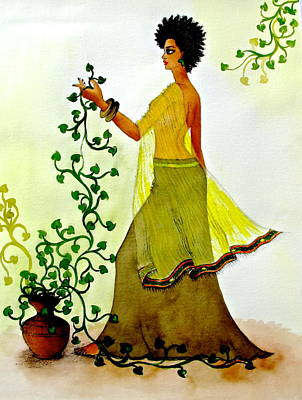 Ethiopian Woman Painting - Observing Life by Mahlet