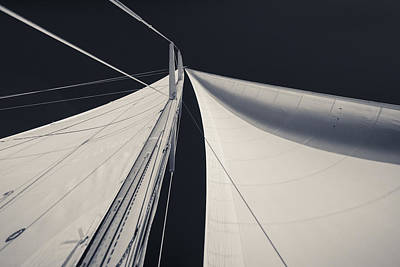 Mast Photograph - Obsession Sails 1 Black And White by Scott Campbell