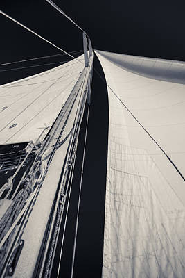 Mast Photograph - Obsession Sails 2 Black And White by Scott Campbell