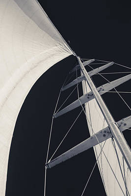 Mast Photograph - Obsession Sails 5 Black And White by Scott Campbell