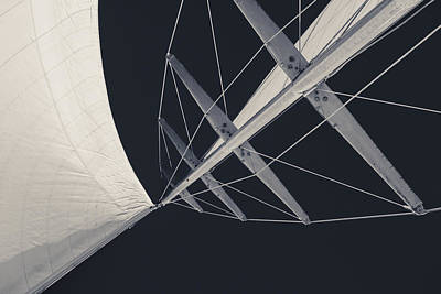 Mainsail Photograph - Obsession Sails 7 Black And White by Scott Campbell