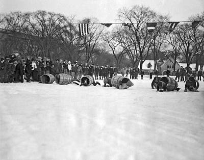 Obstacle Ice Skating Race In Chicago Art Print by Underwood Archives