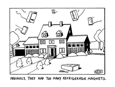 House Drawing - Obviously, They Had Too Many Refrigerator Magnets by Bruce Eric Kaplan