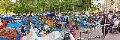 Occupy Wall Street At Zuccotti Park Art Print by Panoramic Images