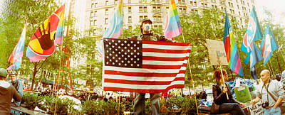 Occupy Wall Street Protester Holding Art Print by Panoramic Images