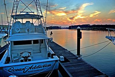 Pier Digital Art - Ocean Addiction Sunset by Michael Thomas