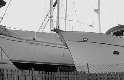 Ocean Adventure Until Then The Two Are In Dry Dock Monochrome  Art Print by Rosemarie E Seppala