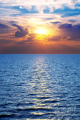 Wallpaper Photograph - Ocean And A Colorful Sunset by Michal Bednarek