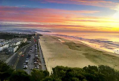 Ocean Beach Sunset From Sutro Heights Art Print